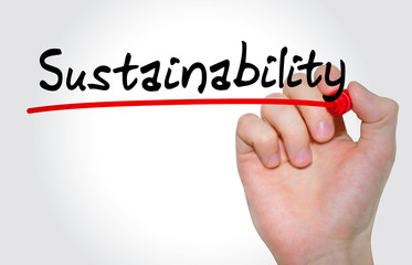 Hand writing inscription Sustainability with marker, concept