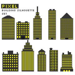 Pixel art style buildings silhouette vector illustration