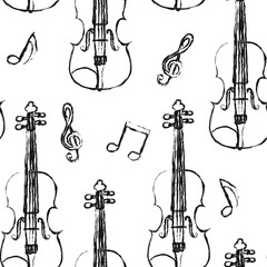 Violin sketch seamless pattern