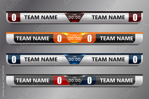Soccer Score Broadcast Graphics Template Vector Illustration Stock
