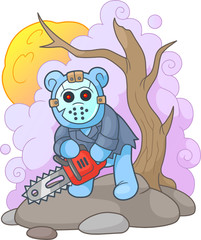 Cartoon teddy bear maniac with chainsaw