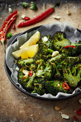Roasted broccoli with peanuts and chili