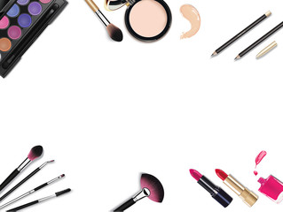 Top View Of Various Make Up Accessories Decorative Cosmetics Products Workplace Lipstick