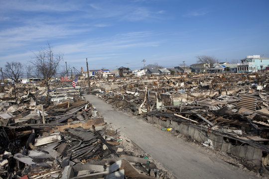 NEW YORK -November12: Destroyed homes during Hurricane Sandy in the flooded neighborhood at Breezy Point in Far Rockaway area  on November12, 2012 in New York City, NY