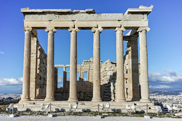 The Erechtheion an ancient Greek temple on the north side of the Acropolis of Athens, Attica, Greece