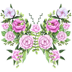 Watercolor Floral Butterfly, Pink Flowers and Green Leaves