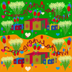 Vector flat image of a greeting card with flowers, gifts and balloons