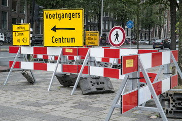 Roadblock Amsterdam Pedestrians The Netherlands 02-07-2016