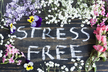 Words Stress Free with Spring Flowers