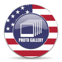 Photo gallery usa design web american round internet icon with shadow on white background.