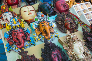 Indian decorative masks in the markets of Goa