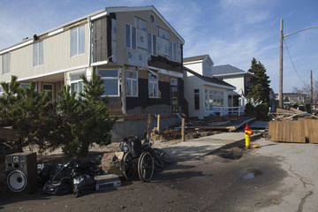 NEW YORK -November12:Destroyed homes during Hurricane Sandy in the flooded neighborhood at Breezy Point in Far Rockaway area  on November12, 2012 in New York City, NY