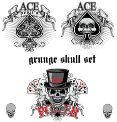 ace of spades with skull skull set