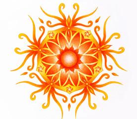 color ornamental mandala on white paper background. Sacral Chakra.