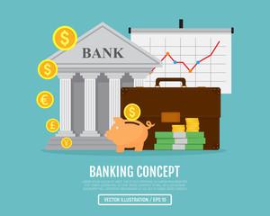 Business web banner. Banking concept. Vector illustration. Flat design. EPS 10.