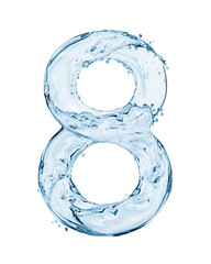 Number 8 made with a splashes of water isolated on white background