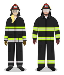 Firefighter concept. Couple of fireman and firewoman standing together on white background in flat style. Flat design people characters. Vector illustration.