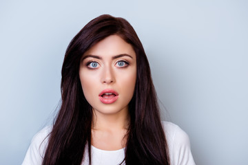 Close up portrait of cute young shocked woman with opened mouth isolated on gray background