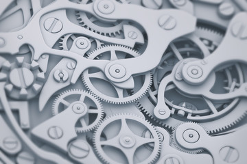 Watch mechanism in gray and blue tones 3D illustration with gears