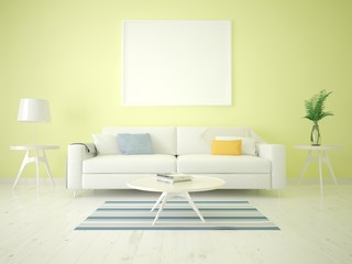 Mock up a living room in Scandinavian style on a yellow background.