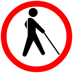 Backpacker or blind person may exit sign on white background. Red Circle road symbol sign.