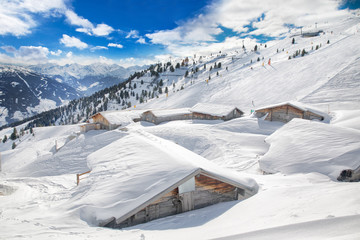 Fototapete - Trees covered by fresh snow in Tyrolian Alps skiing resort with wooden cottages, Zillertal, Austria