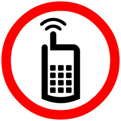 cell phone sign. mobile phone allowed. Red circle road symbol sign