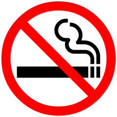 smoking not allowed sign. Red prohibition symbol sign