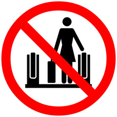 Do not use escalator, moving staircase with luggage. Prohibition sign