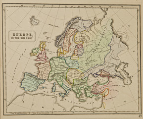Europe. Ancient map of the world . Published by George Philip and son at London 1857 and  are not subject to copyright.