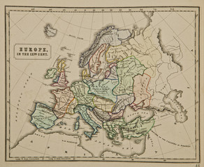 Europe IX century.  Ancient map of the world Ancient map of the world . Published by George Philip and son at London 1857 and  are not subject to copyright.