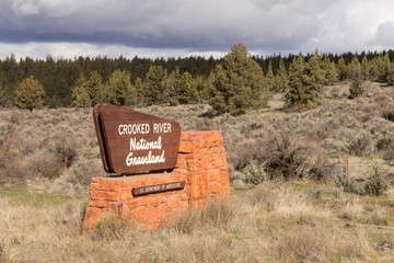 Crooked River National Grassland Entry Sign US Department of Agriculture