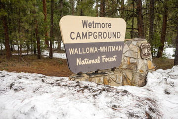 Wallowa Whitman National Forest Wetmore Campground Sign Oregon USA