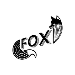 Logo of a fox with text design on a white background. Abstract modern art illustration. Animal logo template for tattoo.
