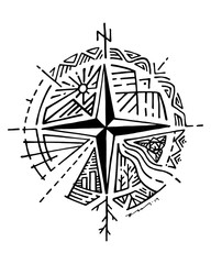 Hand drawn compass and symbols vector illustration