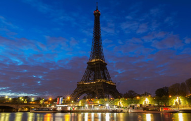 The Eiffel tower early in the morning.