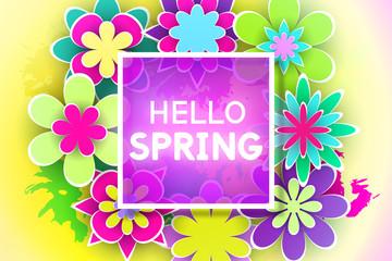 Greeting Card Hello Spring Vector Illustration