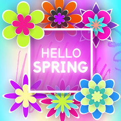 Greeting Card Hello Spring Vector Illustration