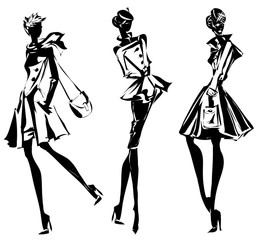 Black and white retro set, fashion models silhouette sketch style. Hand drawn vector illustration