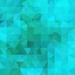Geometric pattern, triangles vector background in blue and green tones. Illustration pattern