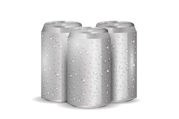 Vector realistic isolated aluminum soda can with water drops on the white background.