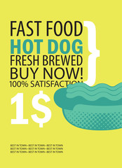 vector banner for fast food restaurant with hot dog and text on yellow background