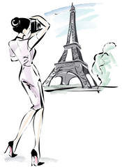 Beautiful young woman takes a picture near Eiffel tower in Paris, France, watercolor vector illustration