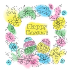 colorful easter card with patterned eggs, floral frame and butterflies