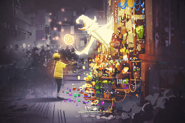 the white wizard giving a magic lollipop to little boy, fantasy candy shop, illustration painting