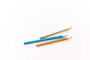 School and office supplies. Pencils on white background with copy space.