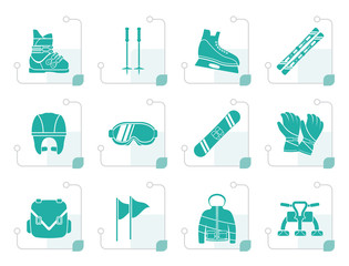 Stylized ski and snowboard equipment icons - vector icon set