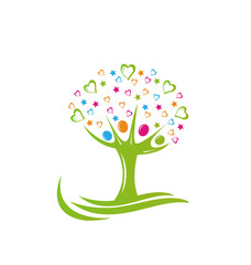 Tree people and hearts logo