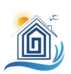 House on the beach, sun and birds logo