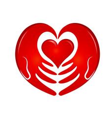 Holding hands heart logo
